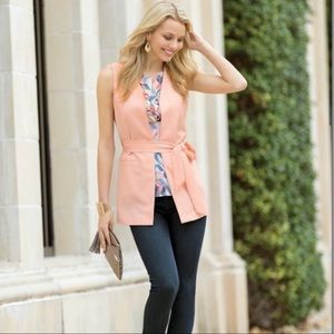 Cato Light Pink Belted Long Blazer Vest